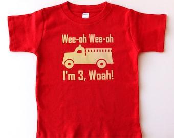 Vintage Fire Truck 3rd Birthday Shirt, Toddler Birthday Shirt, Fire Truck Birthday Party Shirt, third birthday gift
