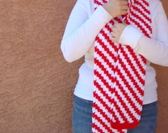 Candy Cane Scarf for Men or Women - Red and White Diagonal Stripe Scarf - Peppermint Scarf - Hoooked Scarves MADE TO ORDER