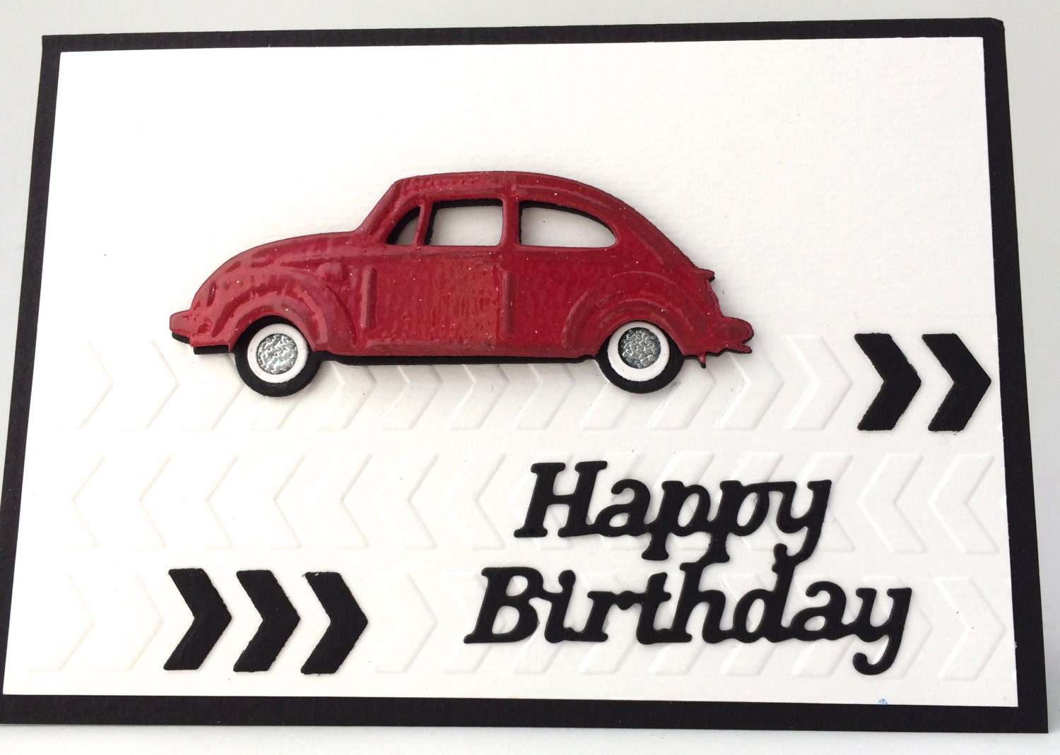 3d red vintage vw beetle unique handmade card mans zoom bookmarktalkfo Image collections