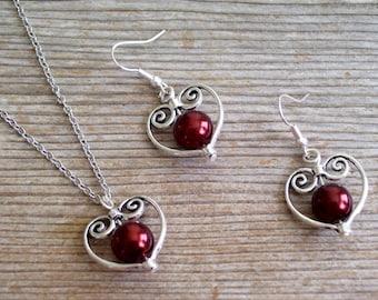 Wedding Earrings Necklace Set, Copper Dark Brown Pearl Silver Heart Jewelry, Wedding Jewelry, Silver Heart Pendant Necklace, Heart Earrings