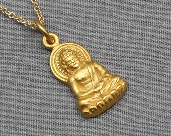 Buddha Necklace,Gold,24K Gold Vermeil,Buddhist,Buddha Jewelry,Yoga Jewelry,Buddha Charm,Buddha Pendant,Zen,Yoga,Karma