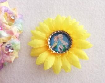 10 Frozen Fever Sunflower Hair Bow  Party Favors