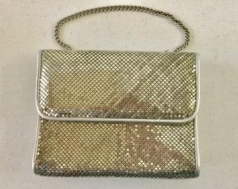 Whiting & Davis International Silver Mesh Evening Bag Purse 1980s Mirror w/ Metal Chain