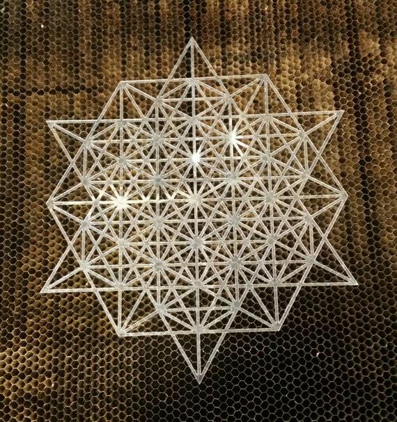 64 Tetrahedron Grid Stencil - Sacred Geometry