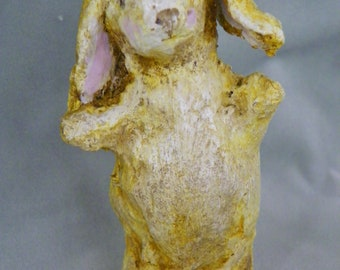 One of a kind sculpted paper mache Easter Bunny Folk Art