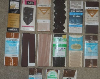 Vintage Sewing Trim & Zippers - Shades of Brown (Cloister, Seal, Caramel, Chestnut, Beige, Tan)
