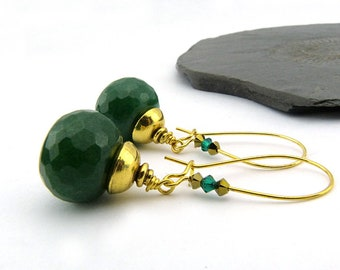 Dark green and gold-long earrings with jade ball-hand sanded. Swarovski crystals, gold plated, nickel-free, fir-green, faceted