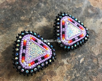 Purple Triangle Beaded Earrings