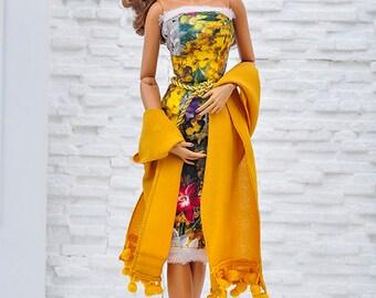 "ELENPRIV mustard color crepe scarf for 16"" dolls Sybarites FR:16 Tonner Tyler Kingdom doll Numina BJD Tulabelle Poppy Fashion Teen dolls"