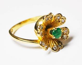 14k Yellow Gold Truebrite Natural Emerald Diamond Flower Ring 15mm Size 6