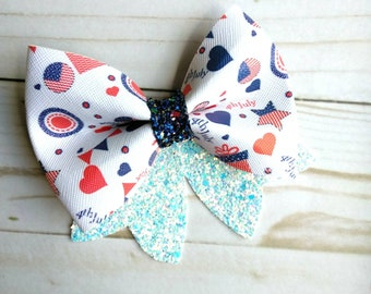 Red white and blue #3 faux leather bow