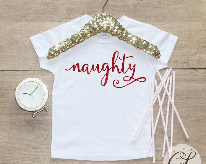 Naughty Christmas Shirt / Baby Girl Clothes Baby's 1st Christmas Outfit First Xmas TShirt Holidays Nice Sister Sibling Merry Shirt 140