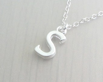 Letter Charm Necklace, Personalised Initial Necklace, Custom Pendant, Bridesmaid Gift, Silver Plated, Stainless Steel, Sterling Silver Chain