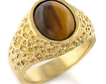 Signet Ring - refc02208 - gold - plated set with a tiger eye