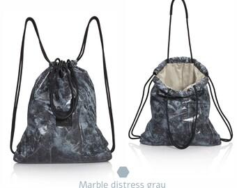 Gray marble convertible backpack tote bag SALE multi-way drawstring backpack laptop bag backpack purse satchel rucksack women backpack