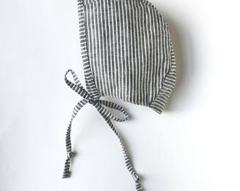 Striped linen baby bonnet handmade sizes up to 4 years