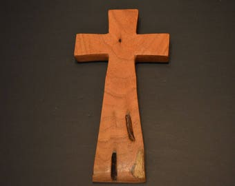 """Wood Cross; Christian Gift; Crooked Cross; Wedding Gift; Sympathy Gift; Mesquite;4.5""""x9""""x.5""""; Free Ground Shipping USA; cc20-5061517"""