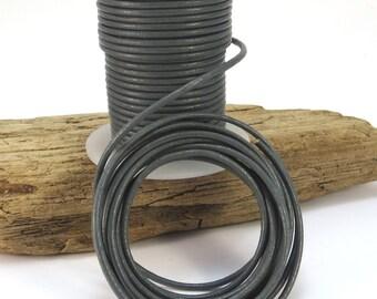 2mm Leather Cord, Grey Leather Cord, 25 Yard Spool Leather Cord, Gray Leather Cord, Necklace Cord, Item 891c