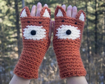 Fox Fingerless Gloves ~ Handmade