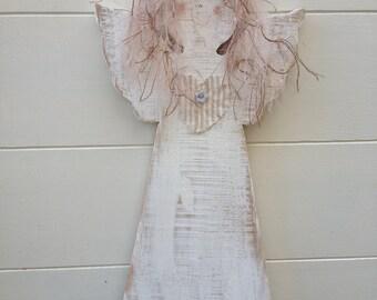 Personalised Angel, Hanging Shabby Chic Handmade Wooden Angel, Nursery Decor, Vintage Style Angel, Guardian Angel, Handmade in UK