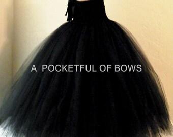 Black Flower Girl Dress, Black Tulle Dress, Girls Black Formal Dress< Black Tutu Dress