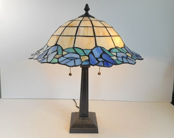 Stained Glass Lamp with Blue Flowers