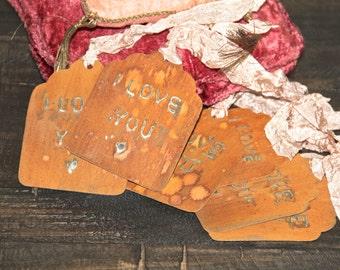 Valentine Gift tags, Metal gift tag, Rusty metal tag, velentine gift, rusty decor, rustic wedding french gift tag Mediterranea Design Studio