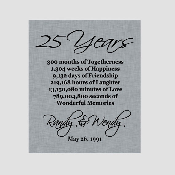 Silver Wedding Anniversary Gift Ideas For Parents: 25th Anniversary Print Silver Anniversary Parents