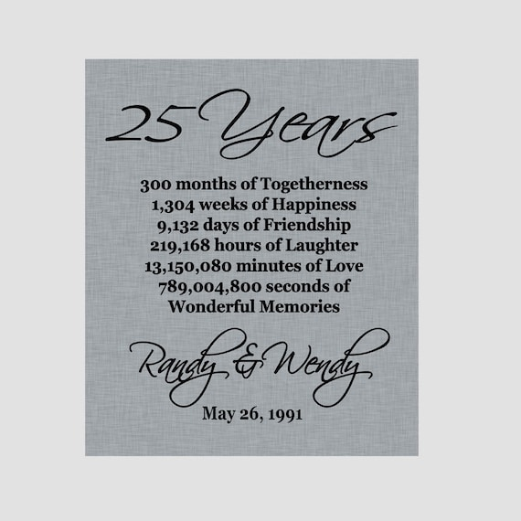Silver Wedding Anniversary Gifts For Husband: 25th Anniversary Print Silver Anniversary Parents
