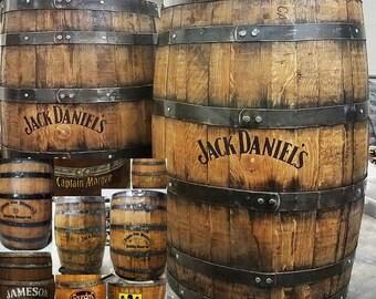 Whiskey barrel customizing finished stained bourbon barrels oak aged rustic peronalized home bar pub display