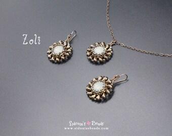 Zoliduo Pendant and Earrings TUTORIAL - Beading Pattern - Zoli Pendant and Earrings