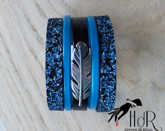 Blue black Peacock feather leather cuff