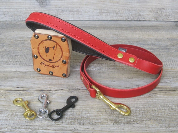 Red Leather Dog Leash with Soft Padded Handle, Custom Lenght and Width, Brass, Nickel or Black Hardware, Handmade Dog Lead, Prime Leather
