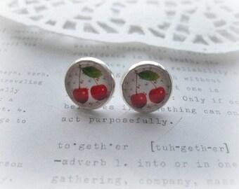 ON SALE  Cherries Glass Stud Earrings