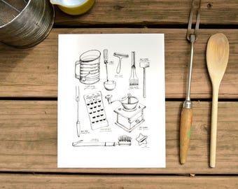 Vintage Kitchen Utensil Print, Pen Illustration, Watercolor, Food Illustration, Kitchen Decor, Art Print, 8x10