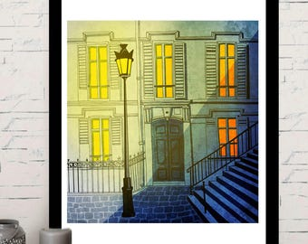 Paris Montmartre, illustration, home decor