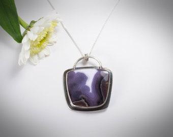 Purple Passion Agate Pendant, Hand Fabricated, Metalsmith Pendant, Purple Pendant, Noduri Silver Works, Purple Stone Pendant, Bezel Set