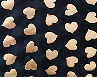 "Spandex Fabric, Black Gold Foil Hearts, 4Way Stretch Lycra Knit Spandex By The Yard 58"" Wide, Swimsuit Fabric, Swimwear Lingerie Cosplay"