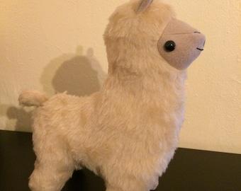 Fawn faux fur stuffed alpaca plush