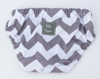 3-6 Grey Chevron Diaper Cover. newborn to toddler. gray