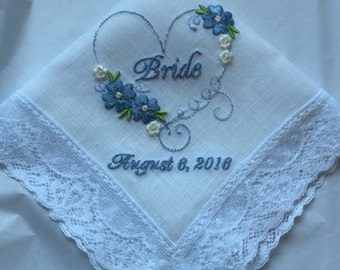 Custom Embroidered Something Blue Bridal Wedding Handkerchief, Bridal Shower Gift, Personalized wedding handkerchiefs, Gift for the Bride