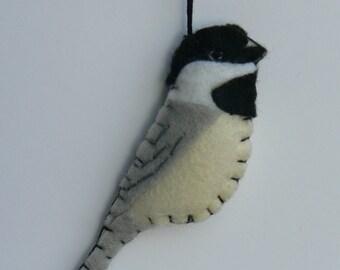 Felt Bird Ornament - Chickadee