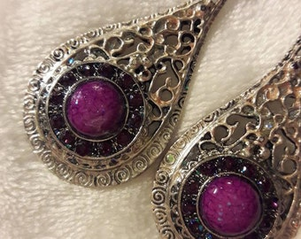 Violet large iridescent shimmering silver earrings