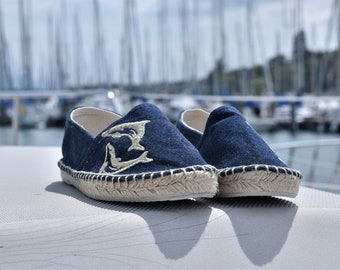 Espadrilles, summer shoes, espadrille flat, women, denim fabric, sandals, embroidery, nature themes