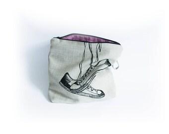converse shoe bag// cosmetic bag// iPad bag//screen printed illustration