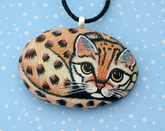Ocelot kitten pendant necklace painted rocks gift for her wildlife totem animal jewelry unique cat lover jungle cat summer finds SHIP FREE