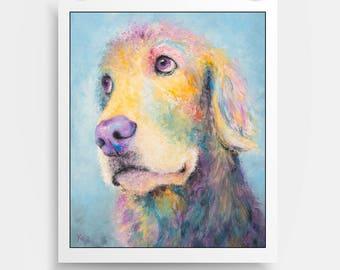 """Golden Retriever Art Print - Golden Retriever Gift, Colorful Dog Art Print of My Golden Retriever Painting """"Mr. Jones"""""""