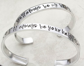 Mother Daughter Jewelry, Mother Daughter Bracelets, Mothers Day Gift, Gift for Mom from Daughter, Hand Stamped Cuff Bracelets