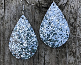 Silver Glitter Faux Leather Large Tear Drop Dangle Earrings
