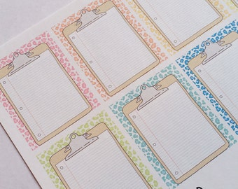 DB006--Spotty Clipboard Planning Stickers for the Erin Condren Vertical ECLP or Happy Planner, Pastel Leopard Print